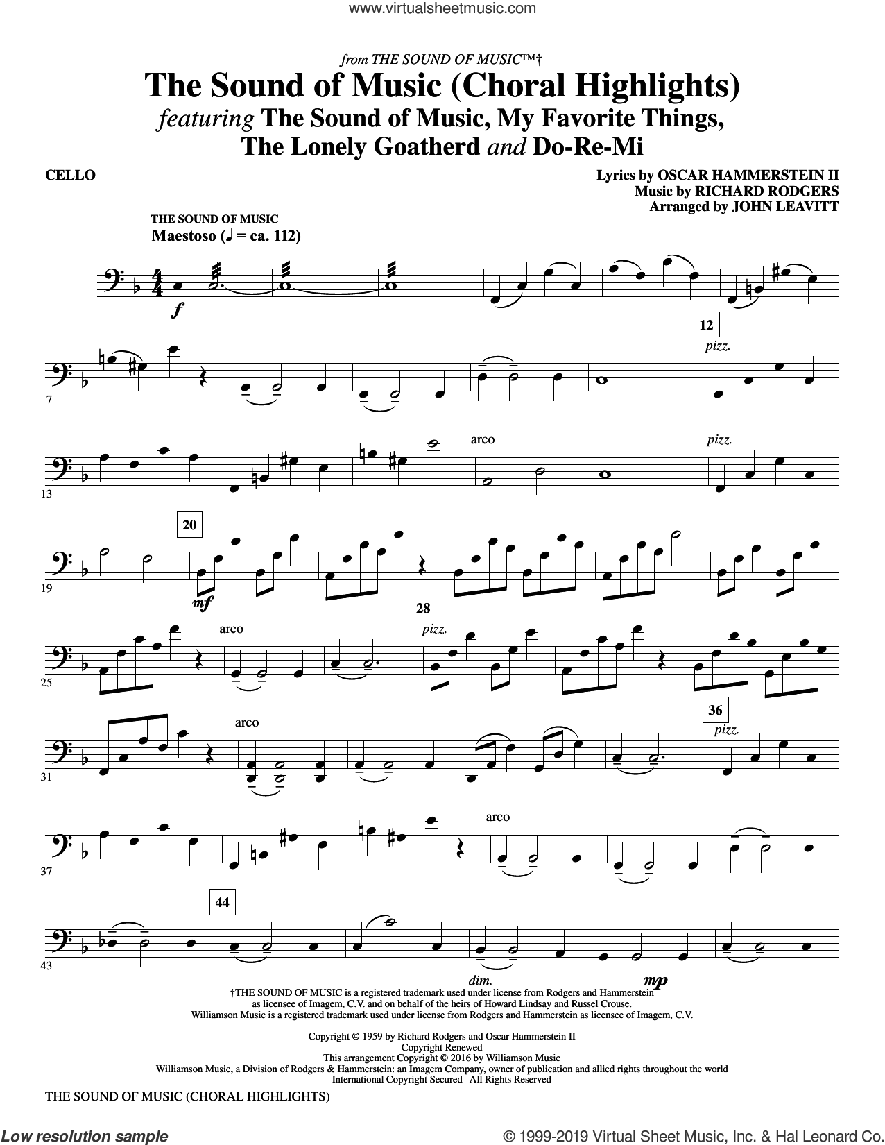 The Sound Of Music (Choral Highlights) (arr. John Leavitt) sheet music for orchestra/band (cello) by Rodgers & Hammerstein, John Leavitt, Oscar II Hammerstein and Richard Rodgers, intermediate skill level