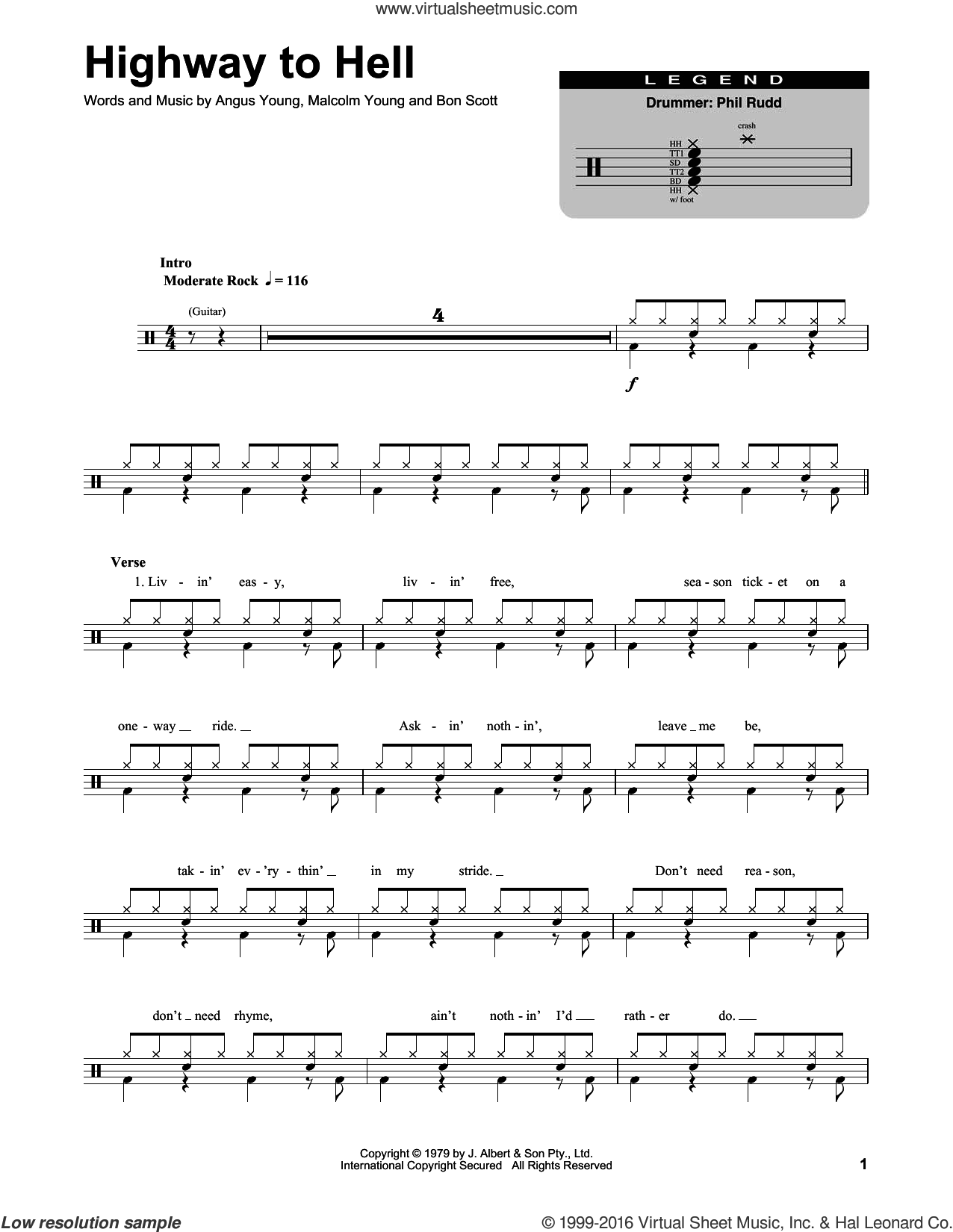Highway To Hell sheet music for drums by AC/DC, intermediate drums. Score Image Preview.