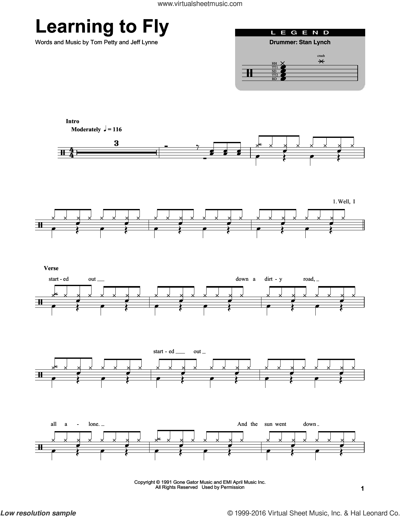 Learning To Fly sheet music for drums by Tom Petty and Jeff Lynne, intermediate skill level