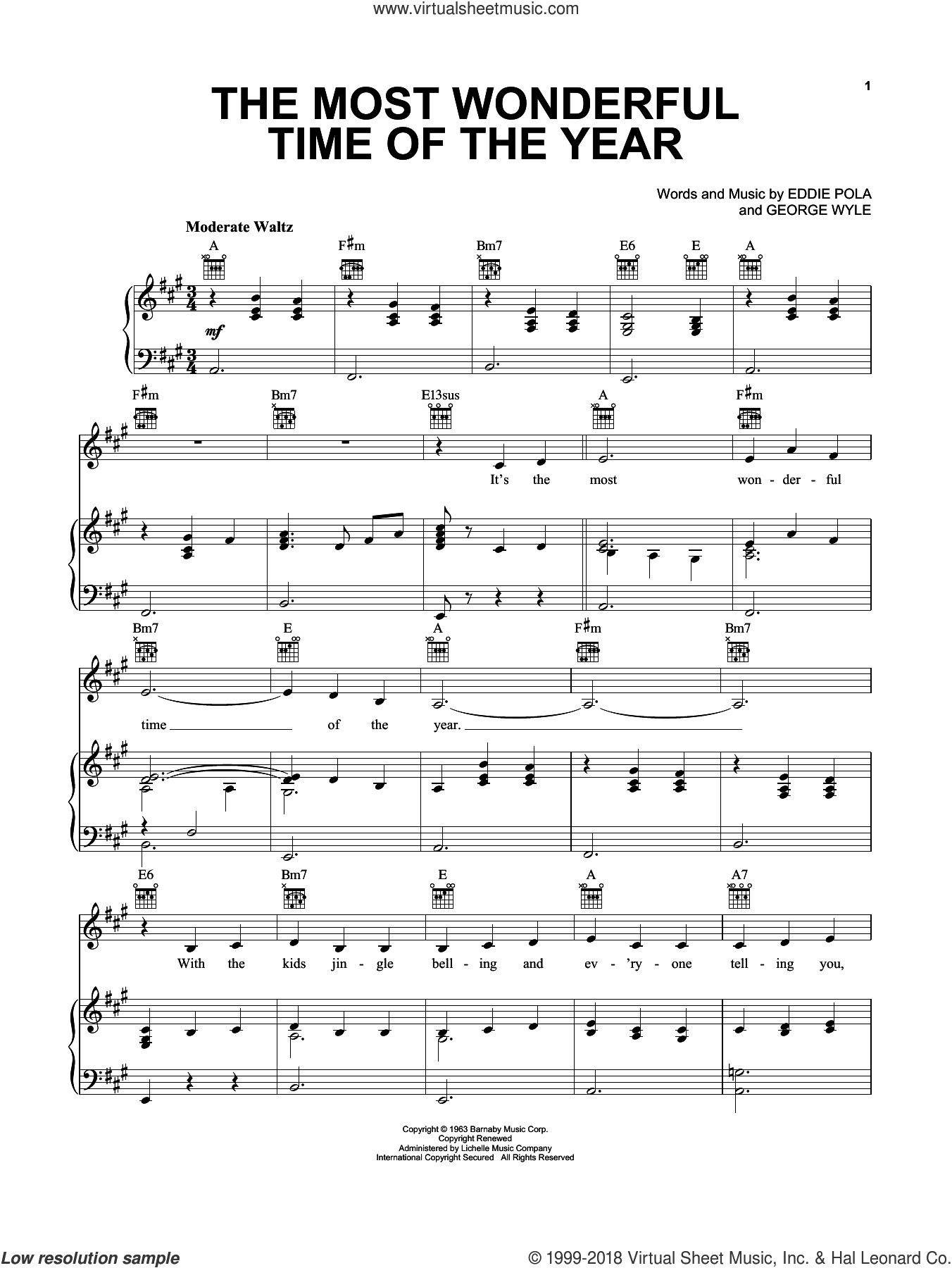 The Most Wonderful Time Of The Year sheet music for voice, piano or guitar by Pentatonix, Eddie Pola and George Wyle, intermediate skill level