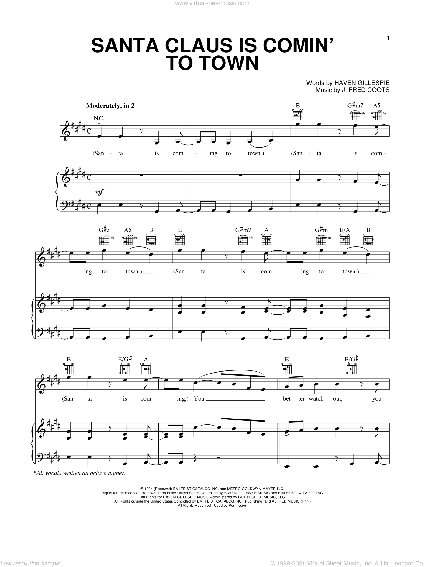 Santa Claus Is Comin' To Town sheet music for voice, piano or guitar by Pentatonix, Michael Buble, Steve Tyrell, The Band Perry, Wilson Phillips, Haven Gillespie and J. Fred Coots, intermediate skill level