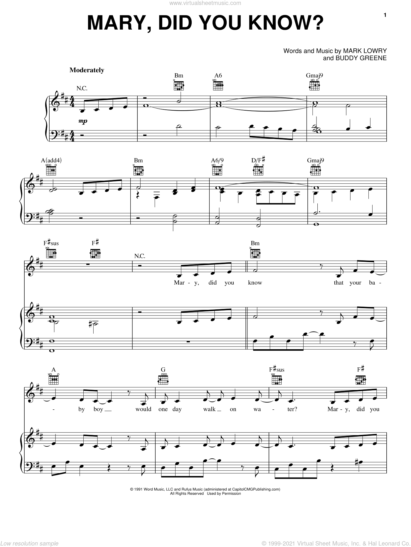 Mary, Did You Know? sheet music for voice, piano or guitar by Pentatonix, Kathy Mattea, Buddy Greene and Mark Lowry, intermediate skill level