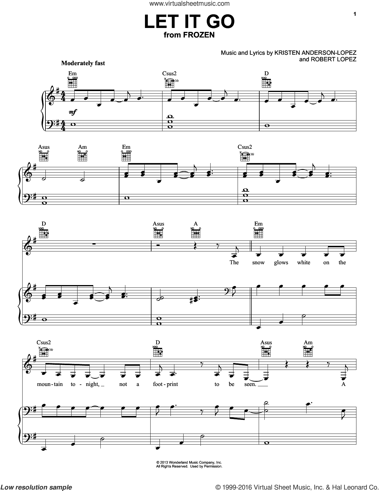 Let It Go (from Frozen) sheet music for voice, piano or guitar by Pentatonix, Idina Menzel, Kristen Anderson-Lopez and Robert Lopez, intermediate skill level