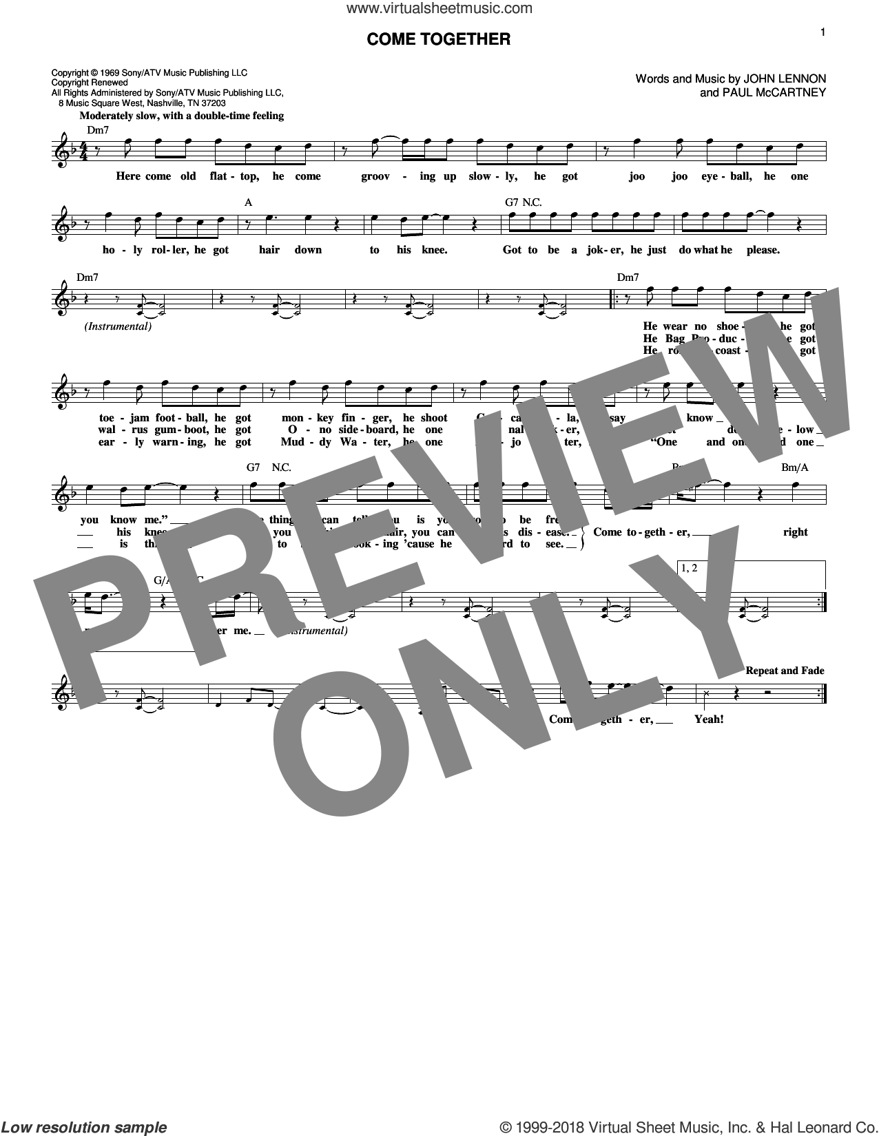 Come Together sheet music for voice and other instruments (fake book) by Paul McCartney, Aerosmith, The Beatles and John Lennon. Score Image Preview.