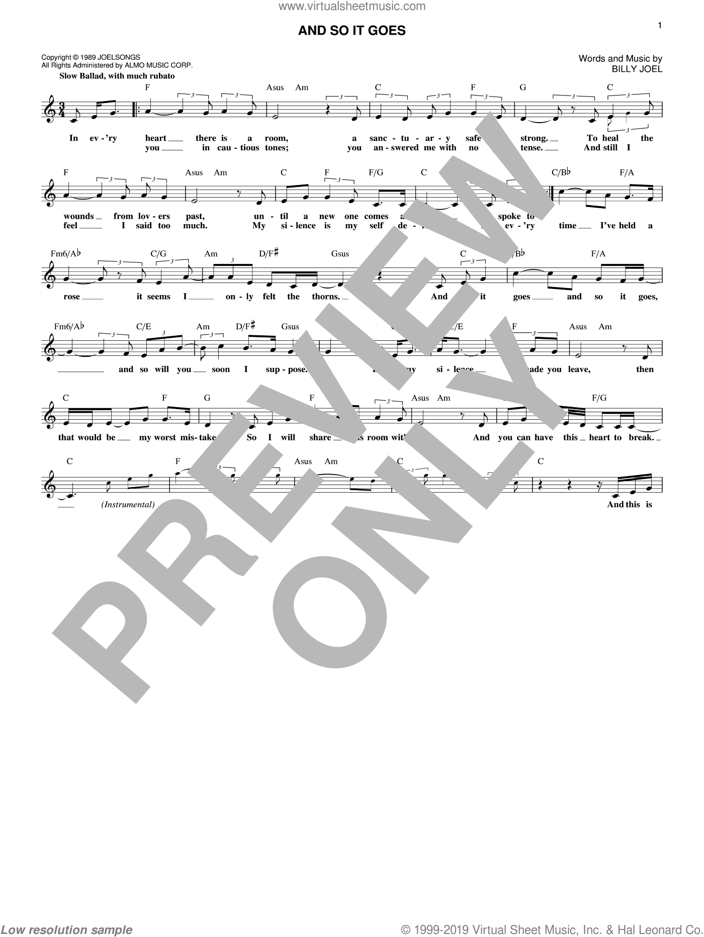 And So It Goes sheet music for voice and other instruments (fake book) by Billy Joel, intermediate skill level