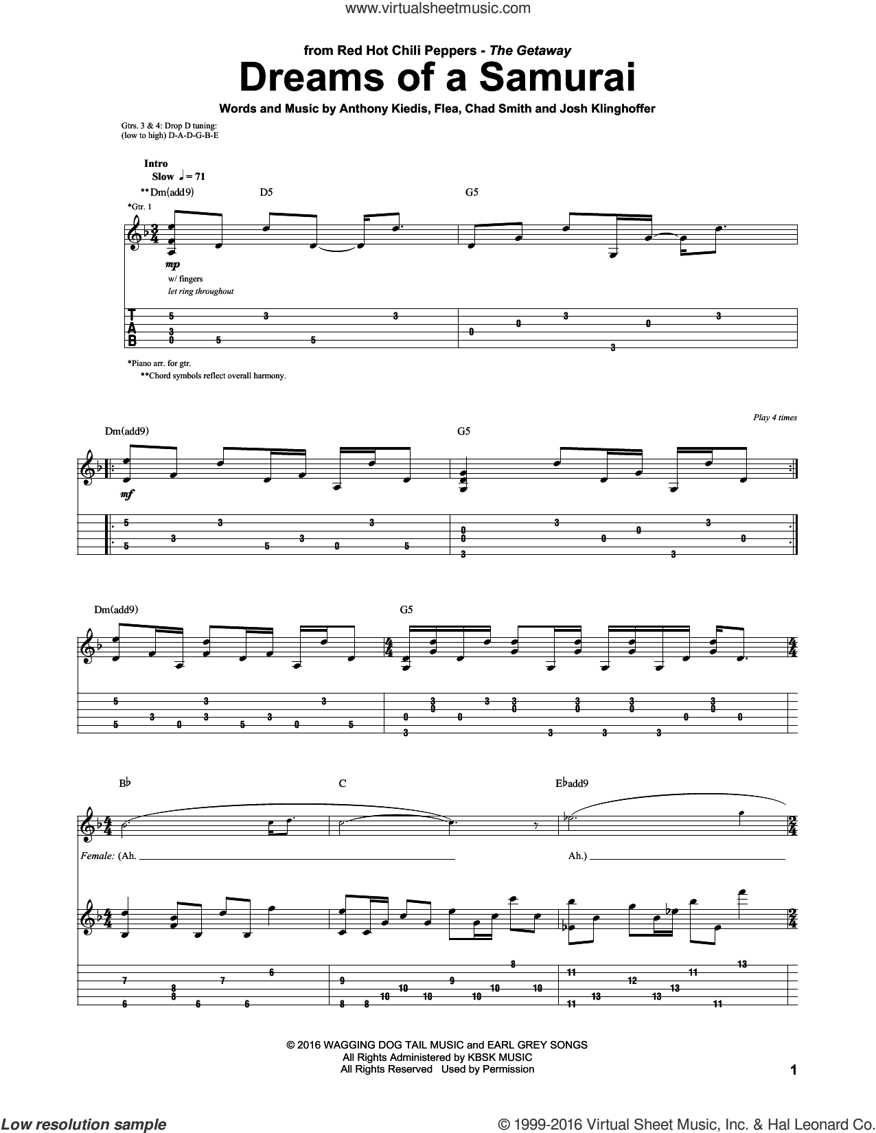 Dreams Of A Samurai sheet music for guitar (tablature) by Red Hot Chili Peppers, Anthony Kiedis, Chad Smith, Flea and Josh Klinghoffer, intermediate skill level