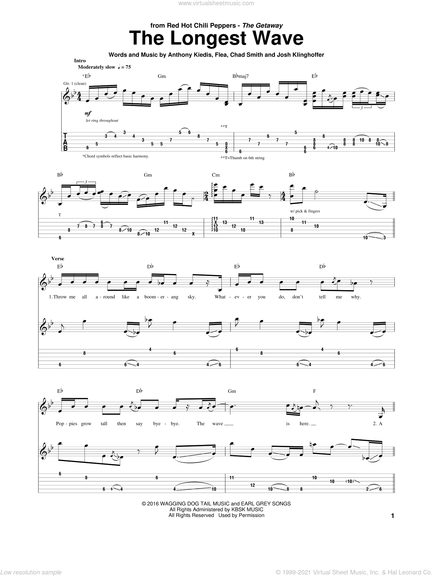 The Longest Wave sheet music for guitar (tablature) by Red Hot Chili Peppers, Anthony Kiedis, Chad Smith, Flea and Josh Klinghoffer, intermediate skill level