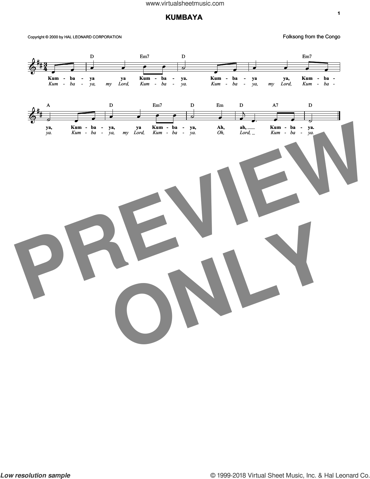 Kumbaya sheet music for voice and other instruments (fake book), intermediate skill level