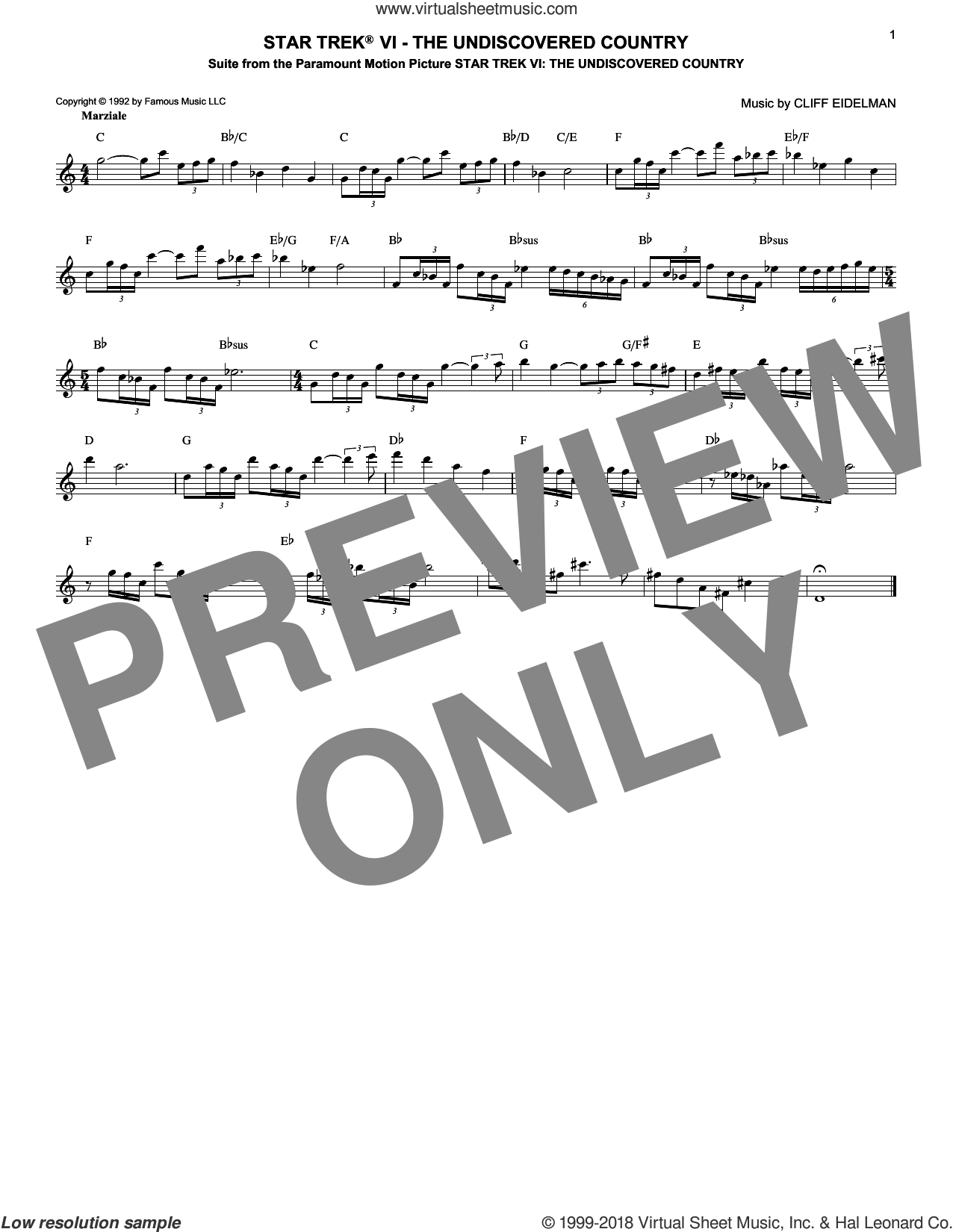Star Trek VI - The Undiscovered Country sheet music for voice and other instruments (fake book) by Cliff Eidelman, classical score, intermediate skill level