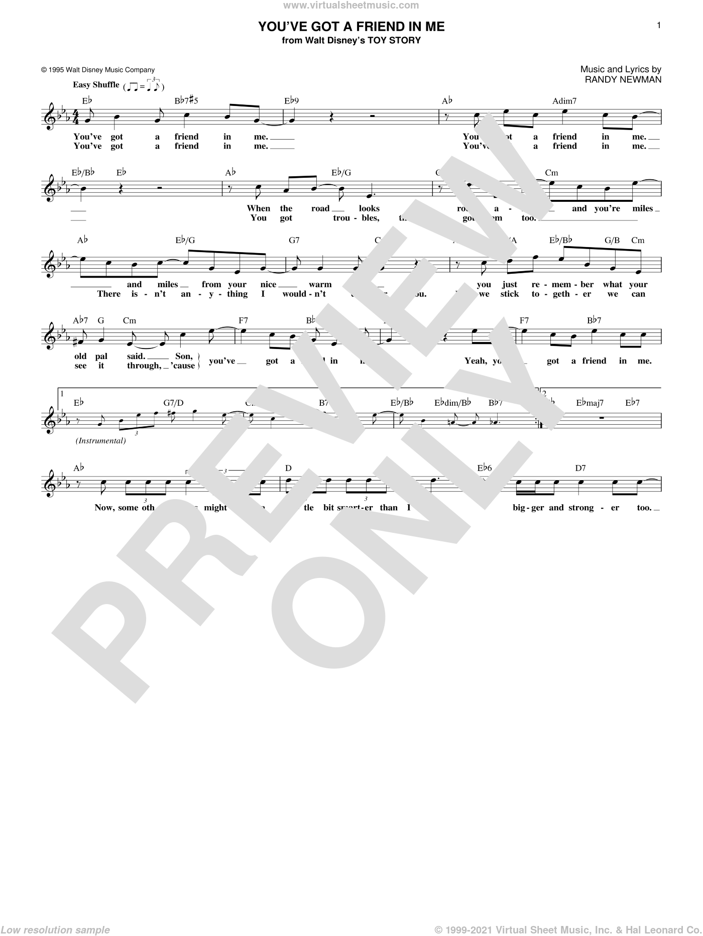 You've Got A Friend In Me sheet music for voice and other instruments (fake book) by Randy Newman and Lyle Lovett. Score Image Preview.
