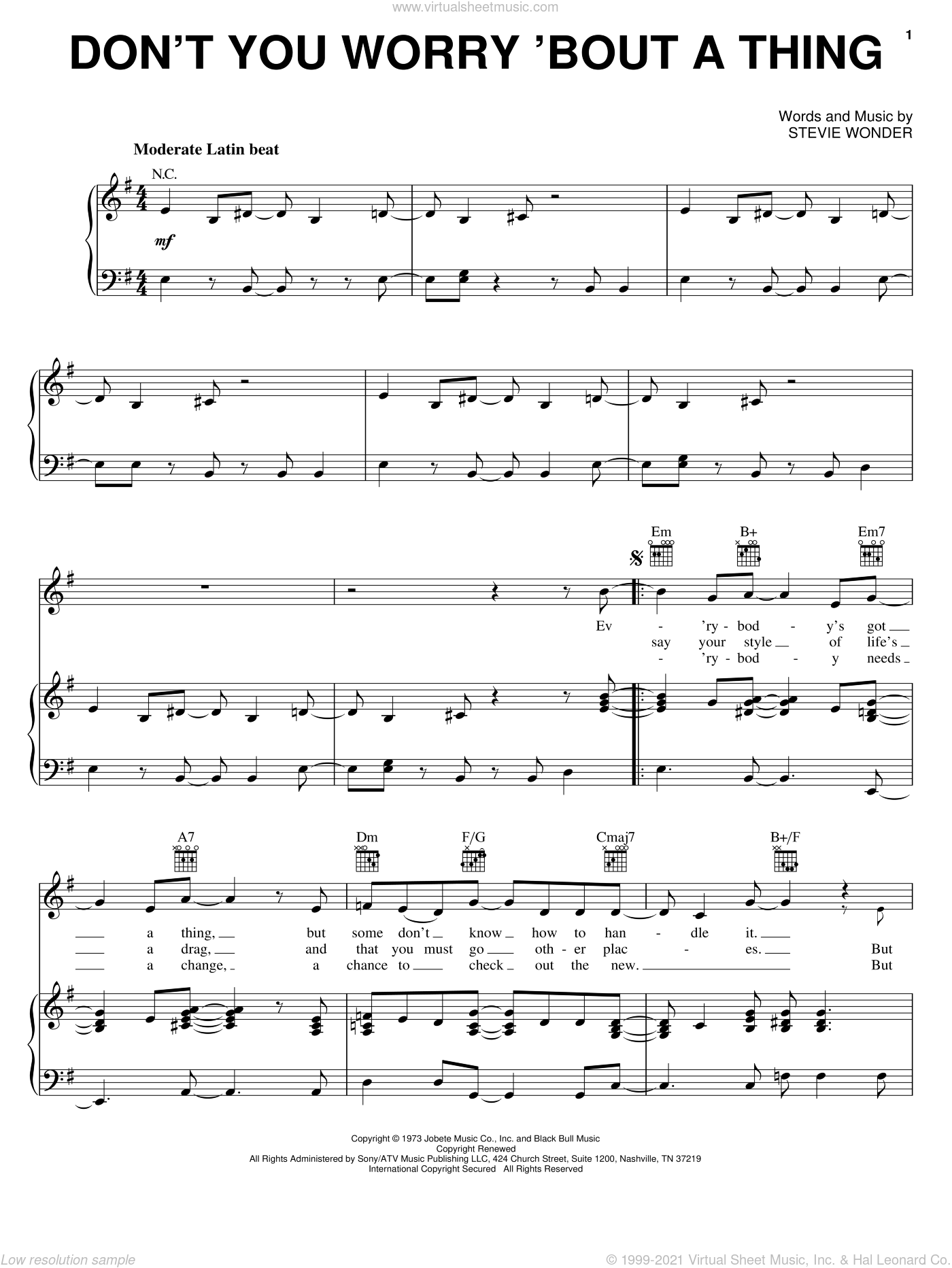 Don't You Worry 'Bout A Thing sheet music for voice, piano or guitar by Stevie Wonder, intermediate skill level