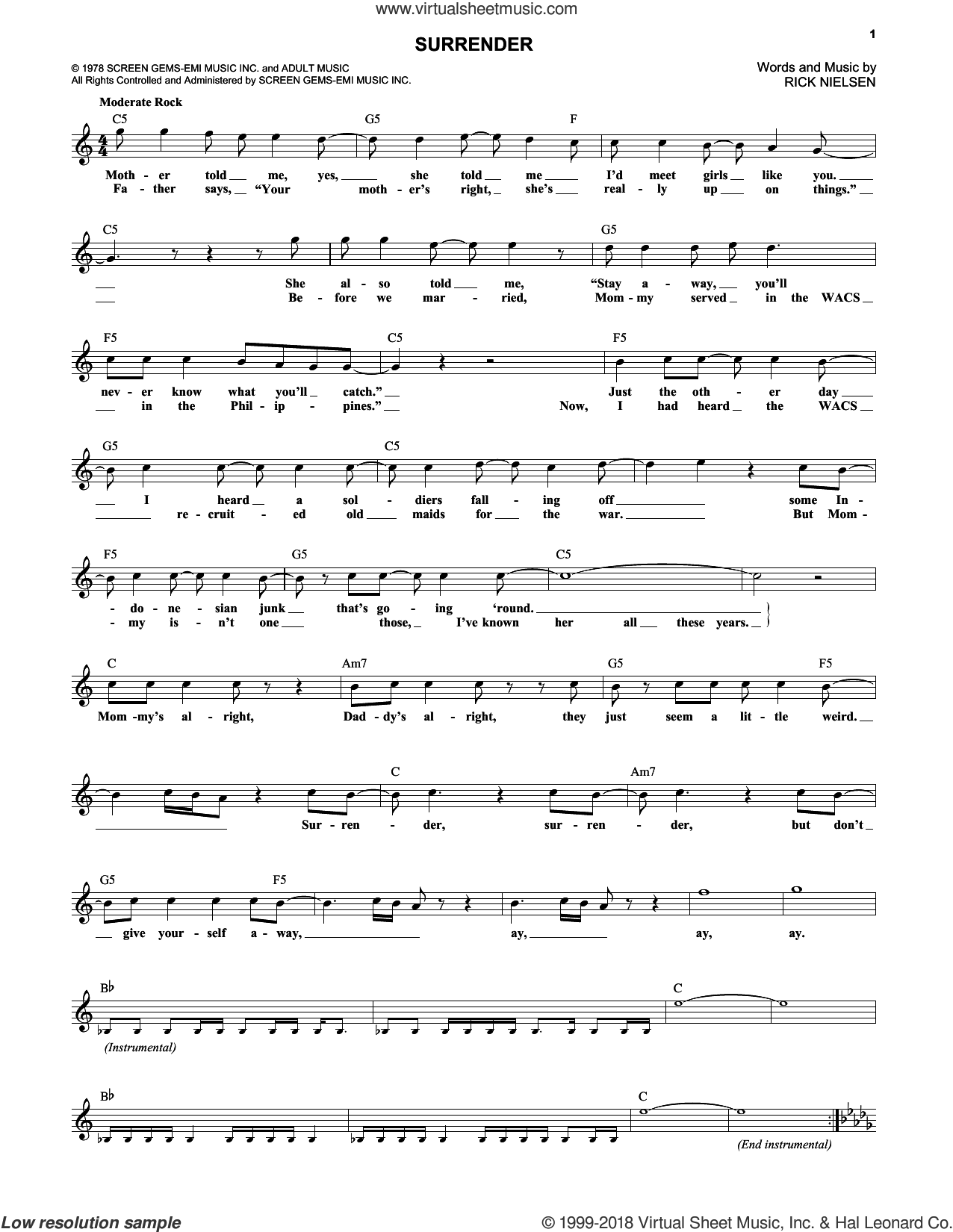 Surrender sheet music for voice and other instruments (fake book) by Cheap Trick and Rick Nielsen, intermediate skill level