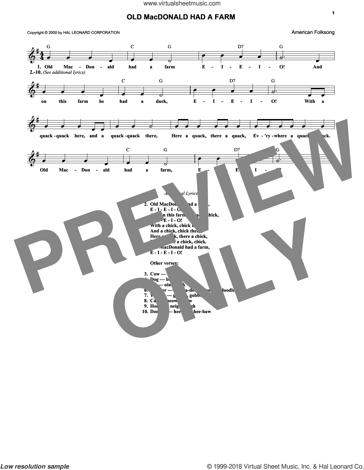Old Macdonald Had A Farm sheet music for voice and other instruments (fake book). Score Image Preview.