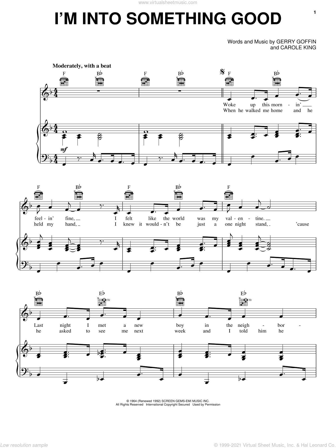 I'm Into Something Good sheet music for voice, piano or guitar by Herman's Hermits, Carole King and Gerry Goffin, intermediate skill level