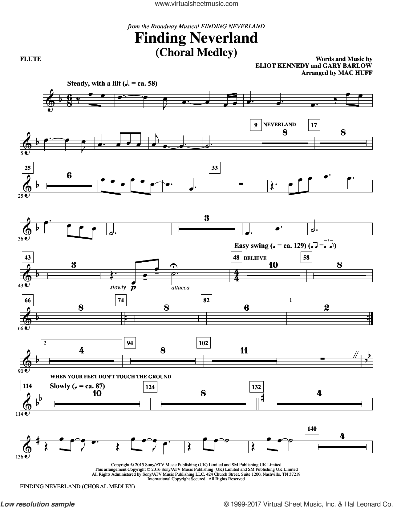 Finding Neverland (complete set of parts) sheet music for orchestra/band by Mac Huff, Eliot Kennedy and Gary Barlow, intermediate orchestra/band. Score Image Preview.