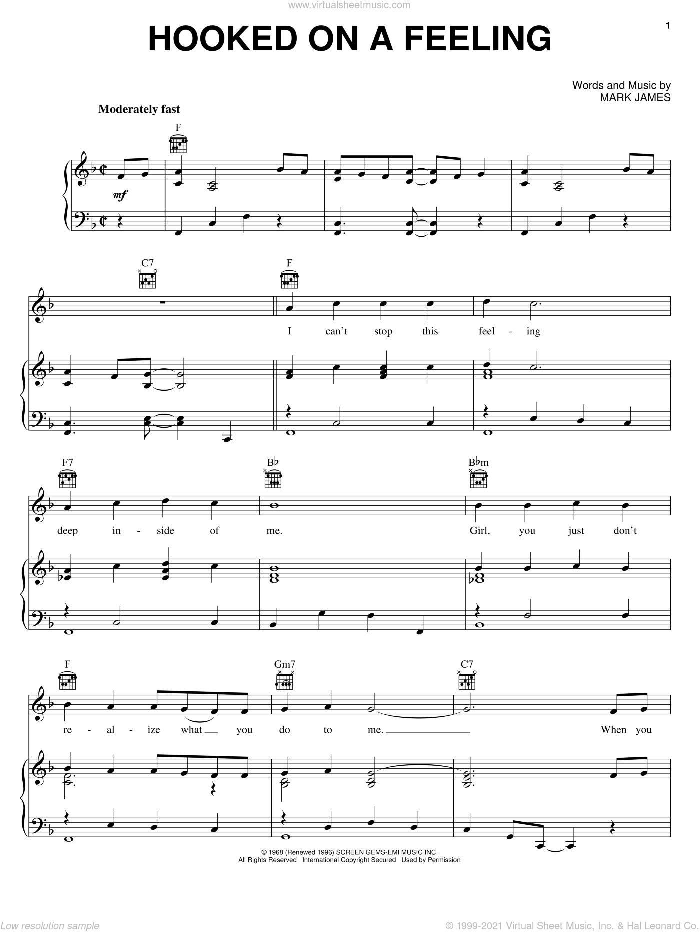 Hooked On A Feeling sheet music for voice, piano or guitar by B.J. Thomas and Mark James, intermediate skill level