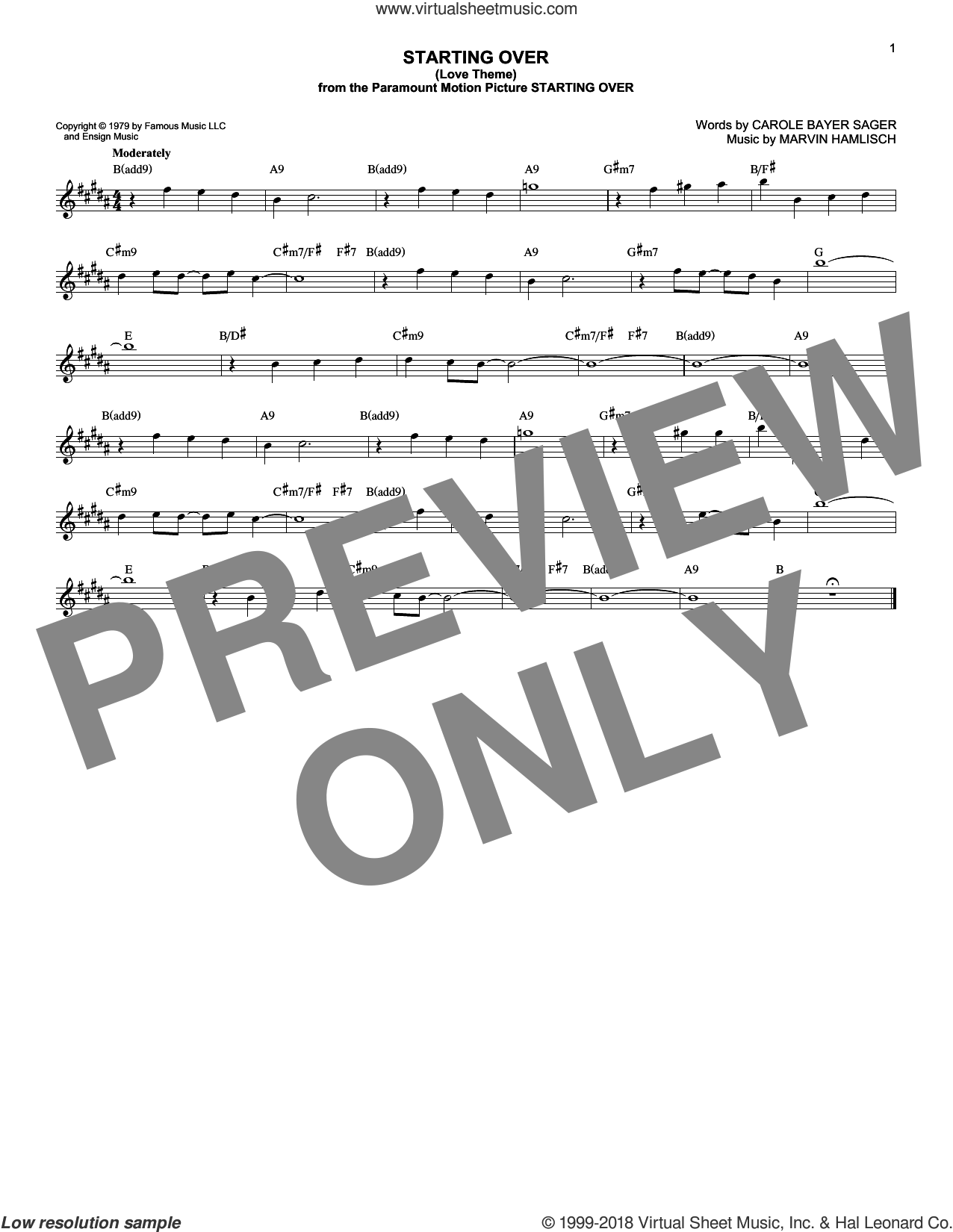 Starting Over (Love Theme) sheet music for voice and other instruments (fake book) by Carole Bayer Sager and Marvin Hamlisch. Score Image Preview.