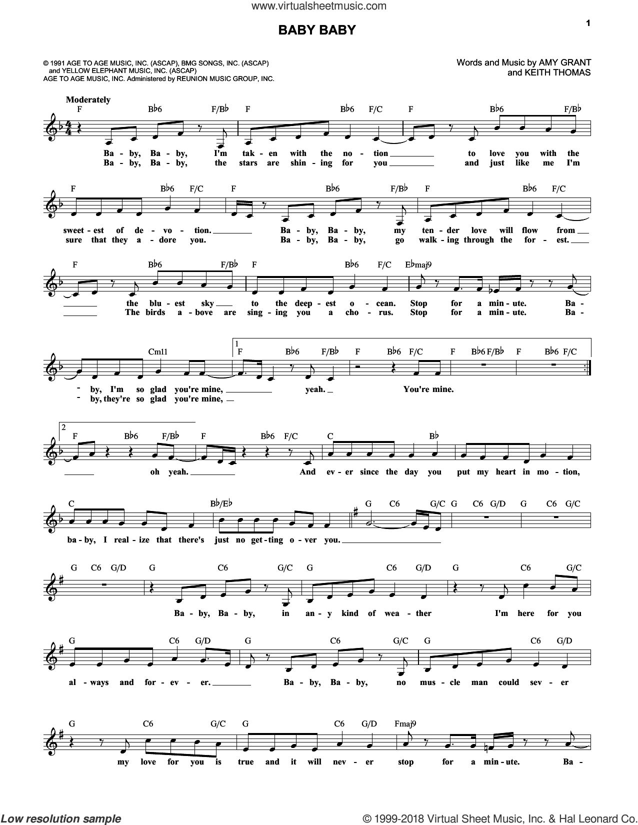 Baby Baby sheet music for voice and other instruments (fake book) by Amy Grant. Score Image Preview.