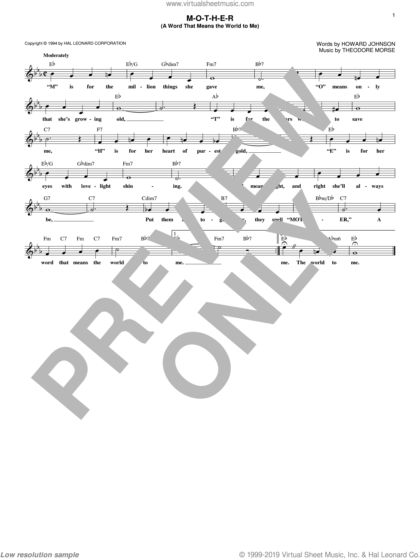 M-O-T-H-E-R (A Word That Means The World To Me) sheet music for voice and other instruments (fake book) by Howard Johnson and Theodore F. Morse. Score Image Preview.