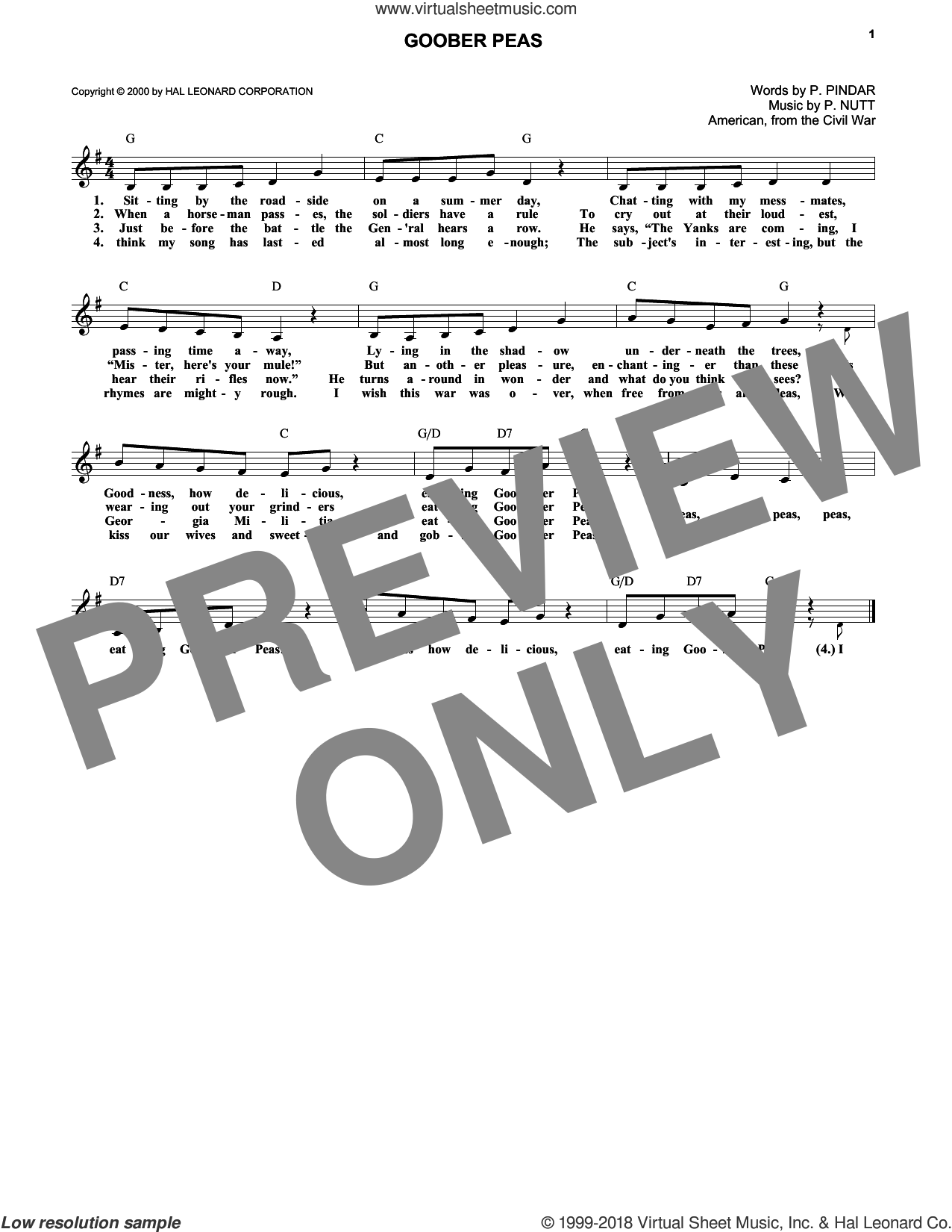 Goober Peas sheet music for voice and other instruments (fake book) by P. Pindar and P. Nutt. Score Image Preview.