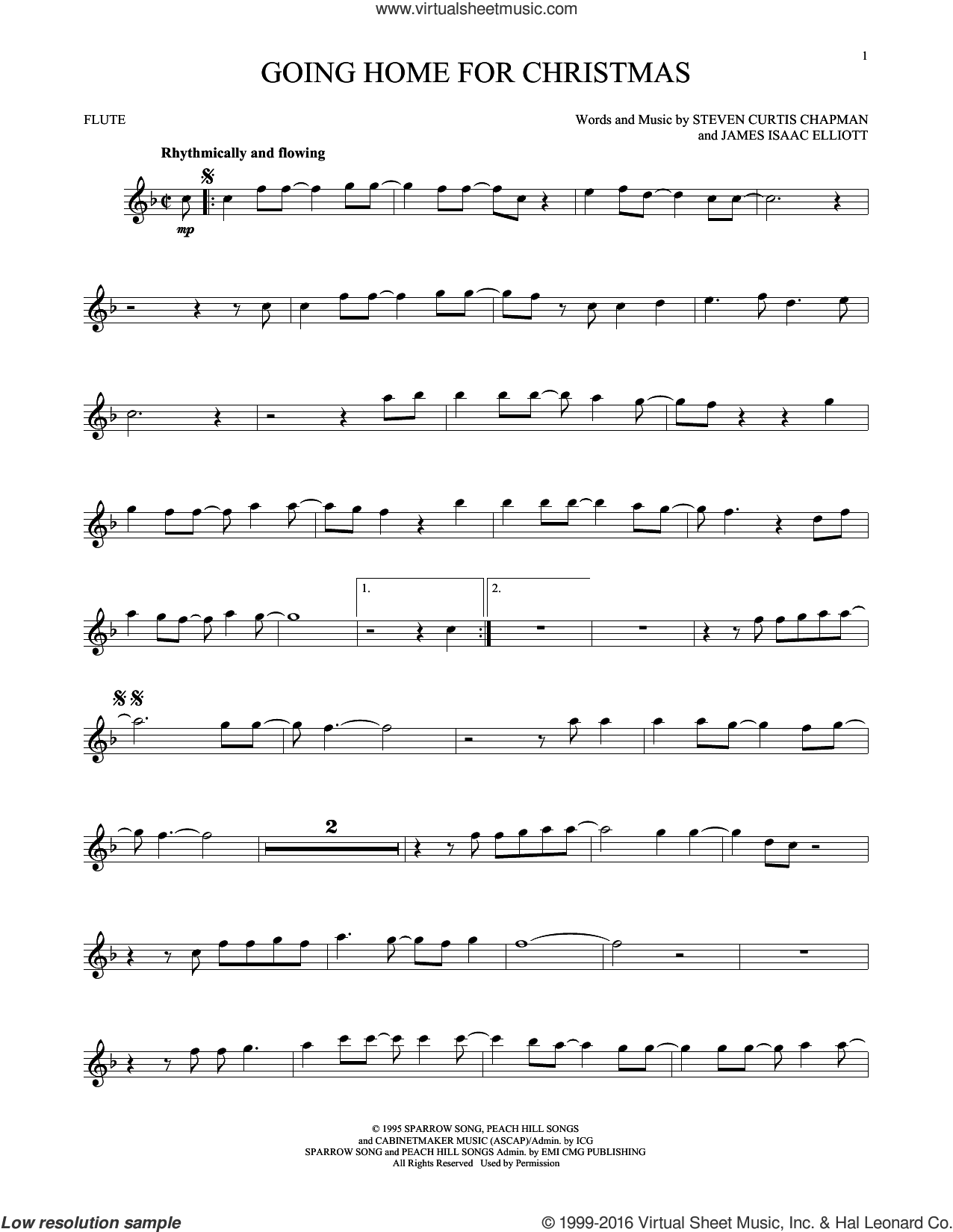 Going Home For Christmas sheet music for flute solo by Steven Curtis Chapman and James Isaac Elliott, intermediate. Score Image Preview.