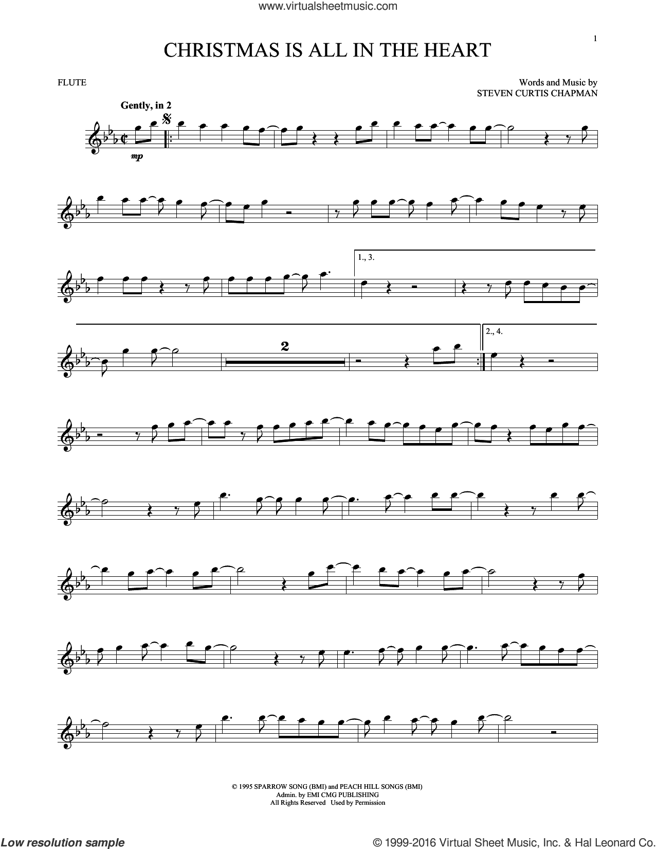 Christmas Is All In The Heart sheet music for flute solo by Steven Curtis Chapman, intermediate