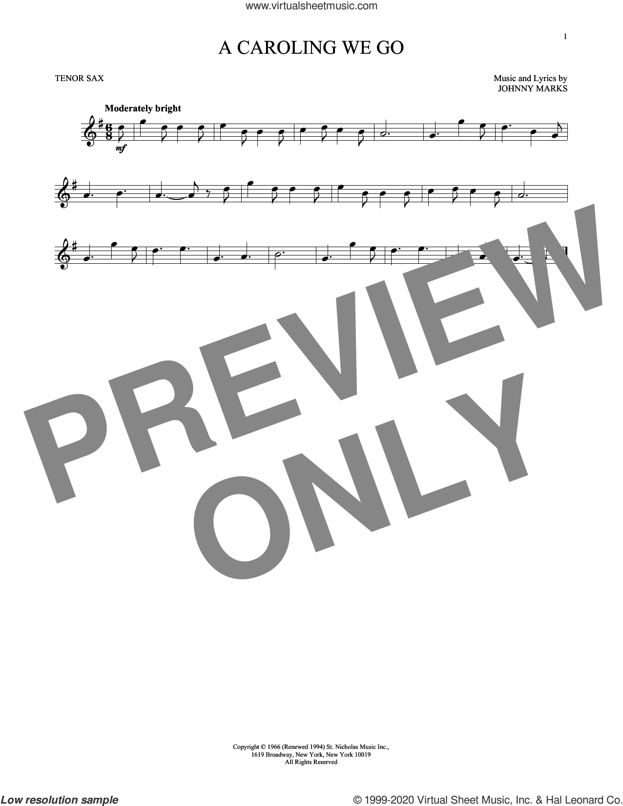 A Caroling We Go sheet music for tenor saxophone solo by Johnny Marks, intermediate skill level