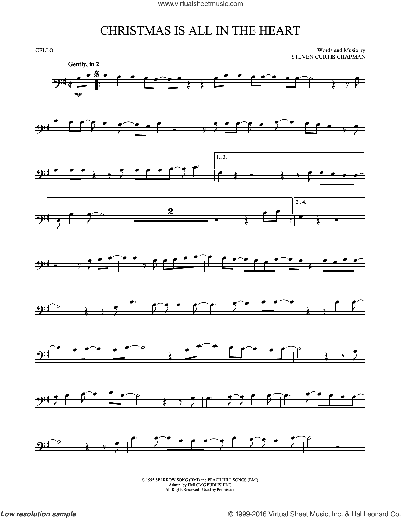 Christmas Is All In The Heart sheet music for cello solo by Steven Curtis Chapman, intermediate skill level