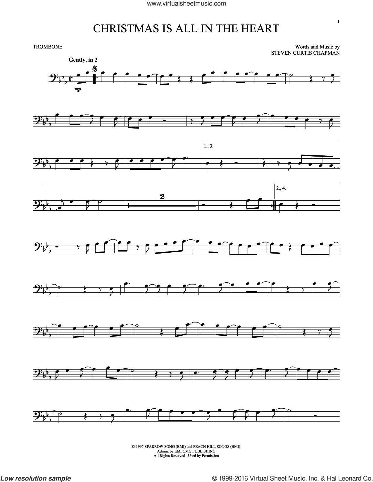 Christmas Is All In The Heart sheet music for trombone solo by Steven Curtis Chapman. Score Image Preview.