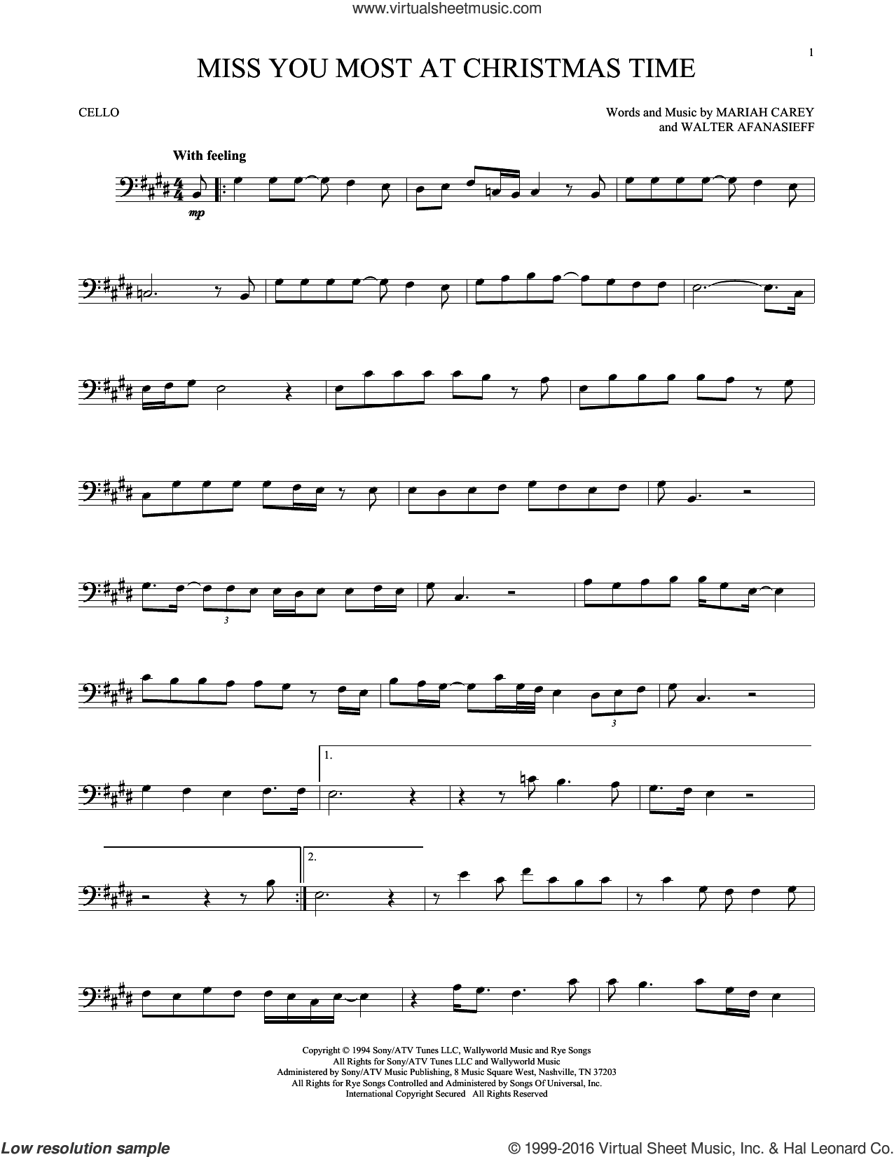 Miss You Most At Christmas Time sheet music for cello solo by Mariah Carey and Walter Afanasieff, intermediate skill level