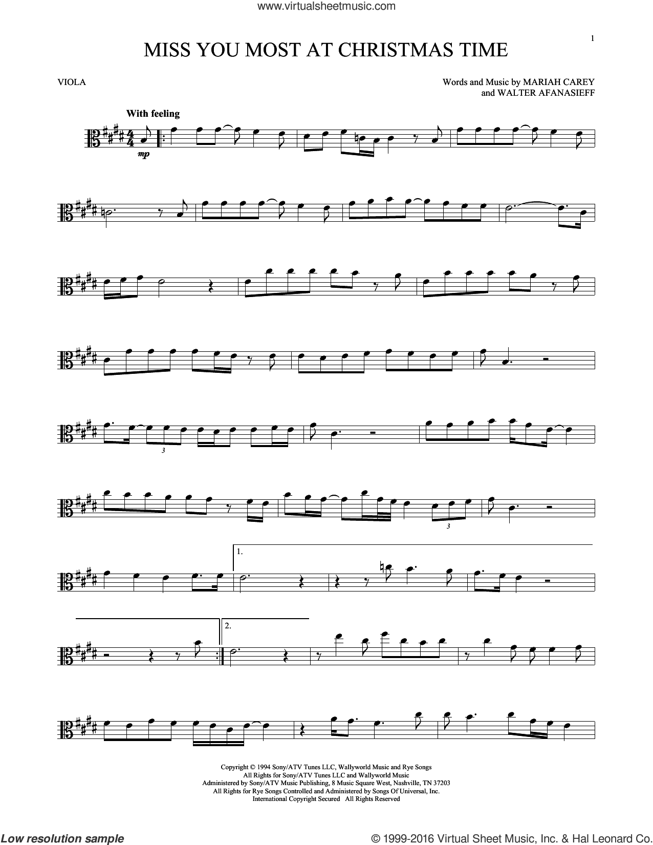 Miss You Most At Christmas Time sheet music for viola solo by Mariah Carey and Walter Afanasieff, intermediate. Score Image Preview.