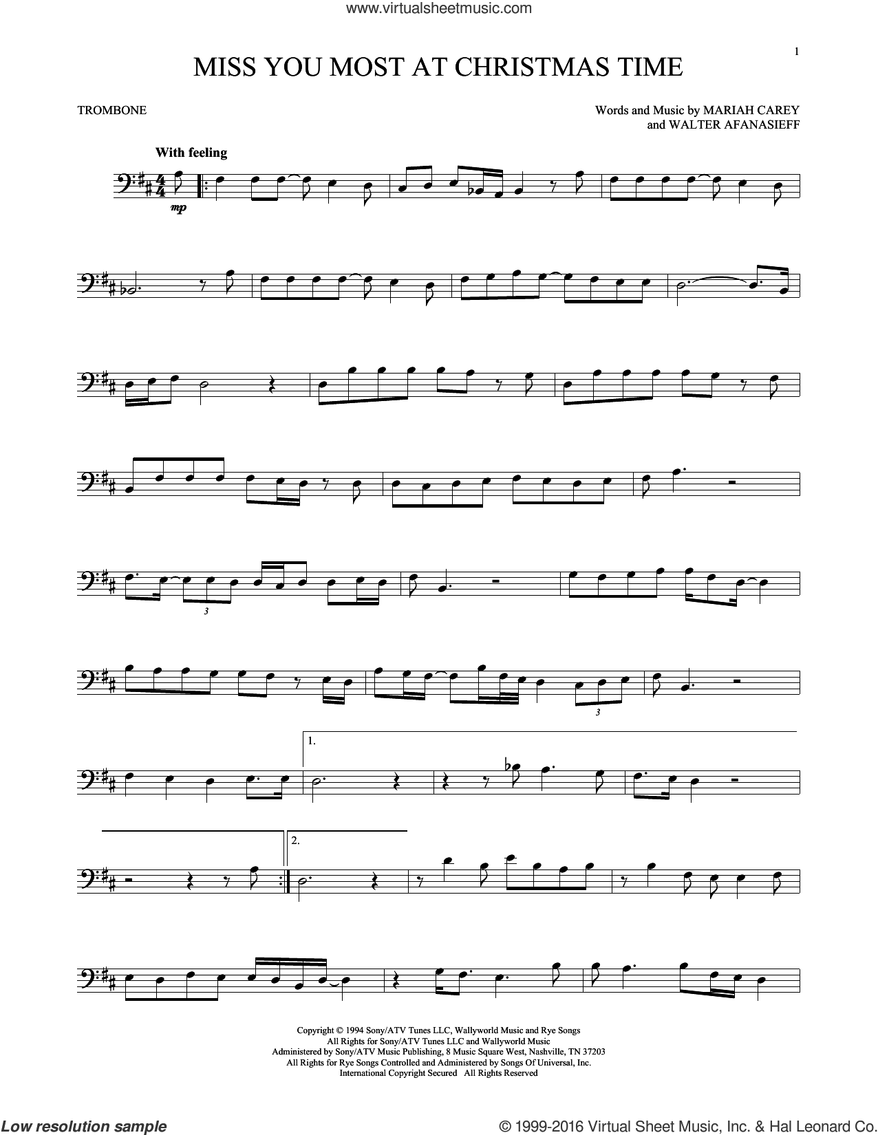 Miss You Most At Christmas Time sheet music for trombone solo by Mariah Carey and Walter Afanasieff, intermediate skill level