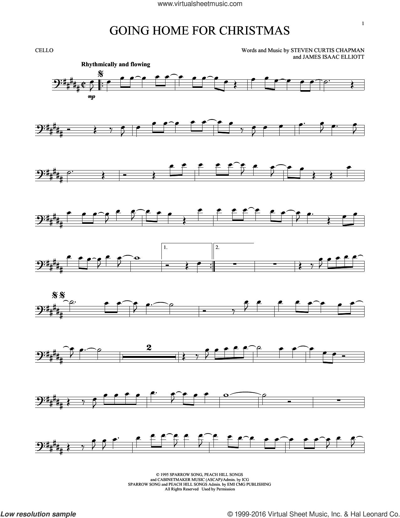 Going Home For Christmas sheet music for cello solo by Steven Curtis Chapman and James Isaac Elliott, intermediate skill level