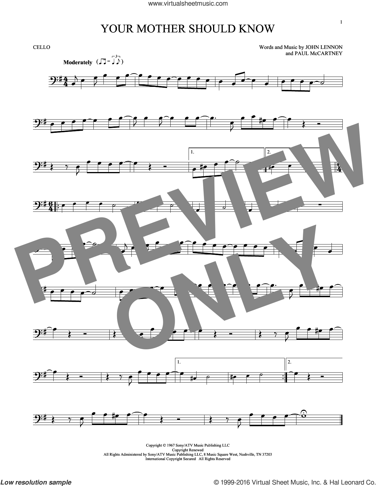 Your Mother Should Know sheet music for cello solo by Paul McCartney, The Beatles and John Lennon. Score Image Preview.