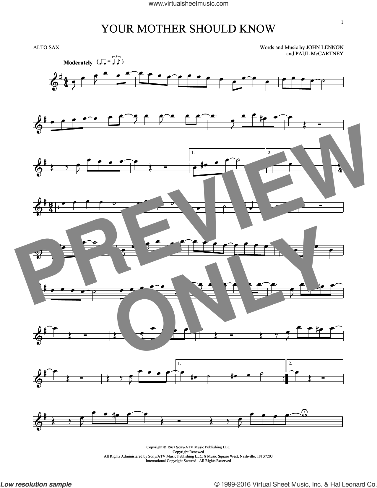 Your Mother Should Know sheet music for alto saxophone solo by The Beatles, John Lennon and Paul McCartney, intermediate. Score Image Preview.