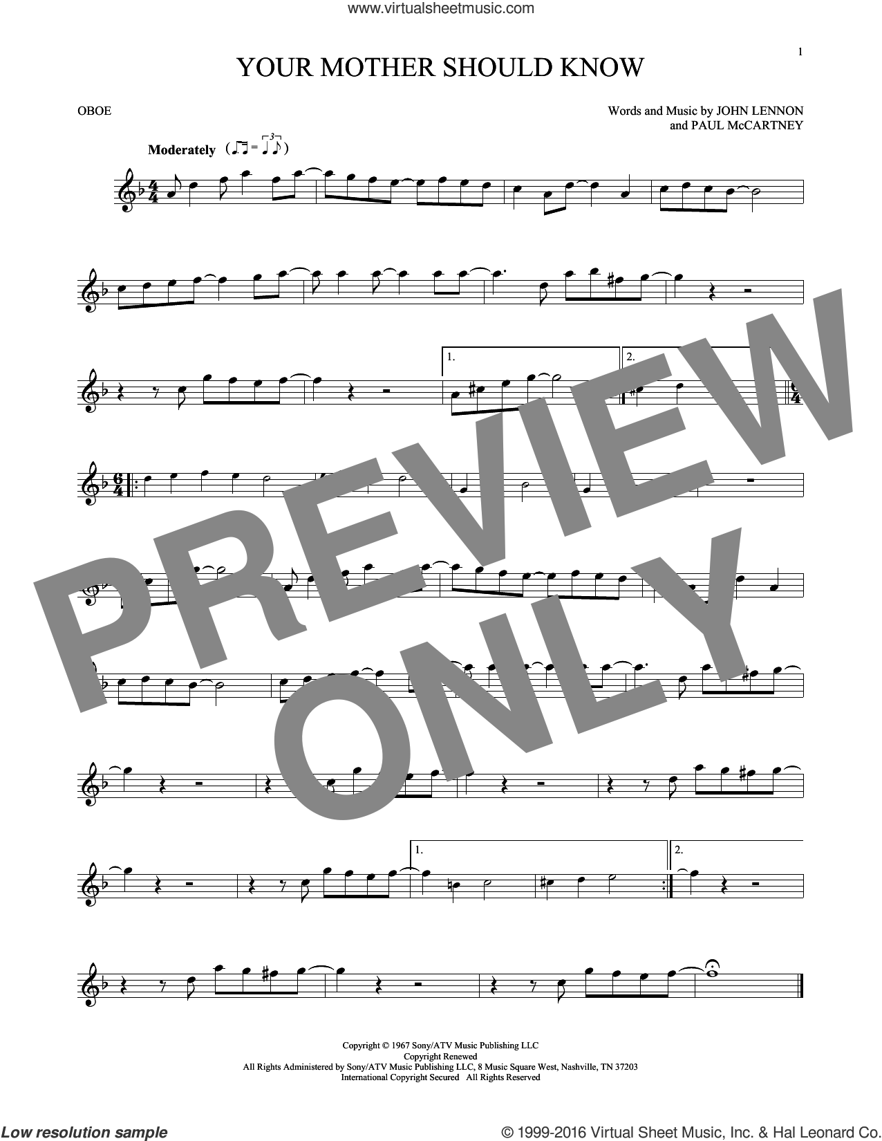 Your Mother Should Know sheet music for oboe solo by The Beatles, John Lennon and Paul McCartney, intermediate skill level