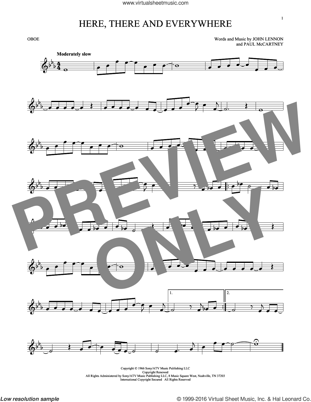 Here, There And Everywhere sheet music for oboe solo by The Beatles, George Benson, John Lennon and Paul McCartney, intermediate skill level