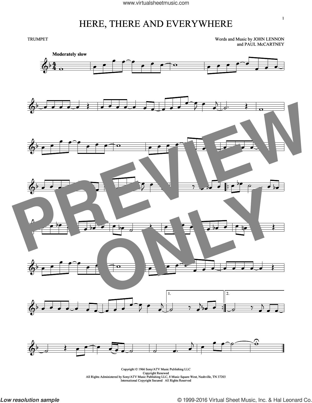 Here, There And Everywhere sheet music for trumpet solo by The Beatles, George Benson, John Lennon and Paul McCartney, intermediate skill level