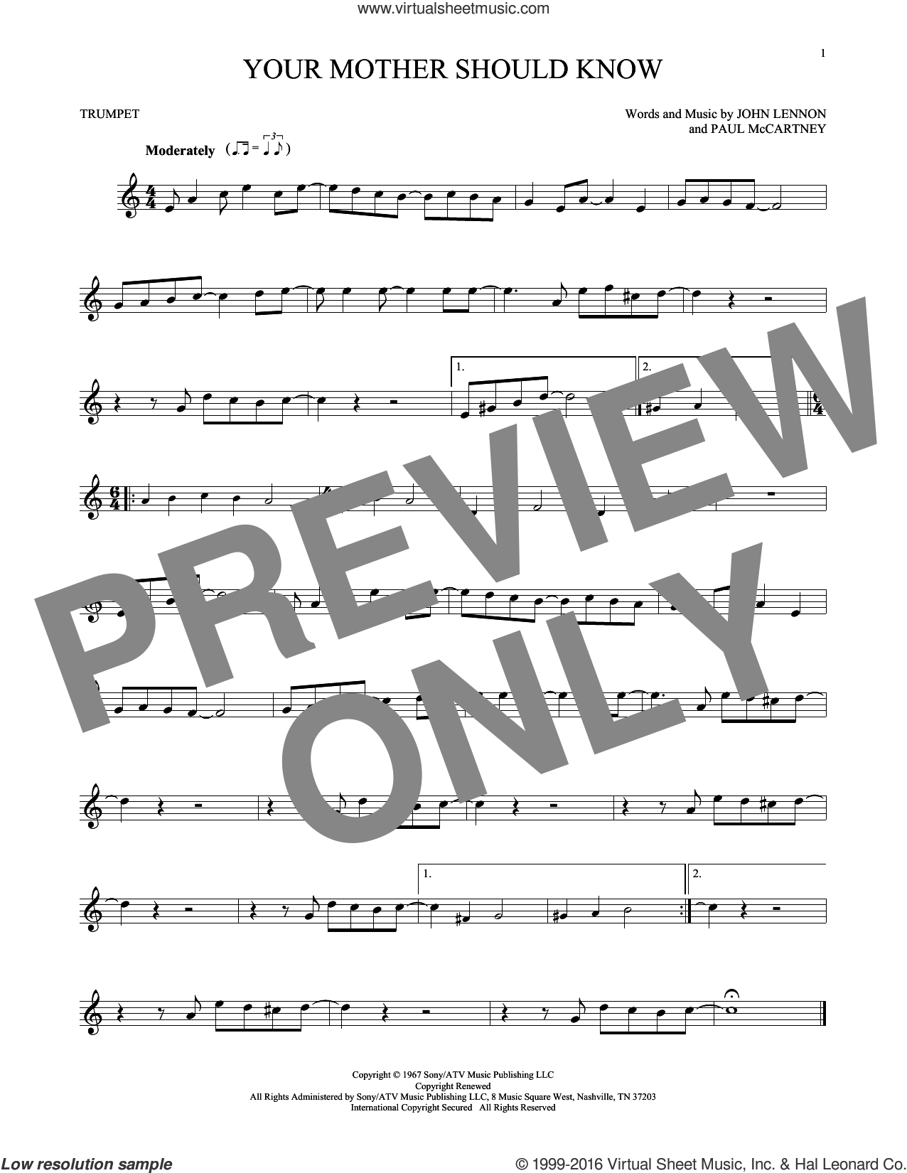 Your Mother Should Know sheet music for trumpet solo by The Beatles, John Lennon and Paul McCartney, intermediate skill level
