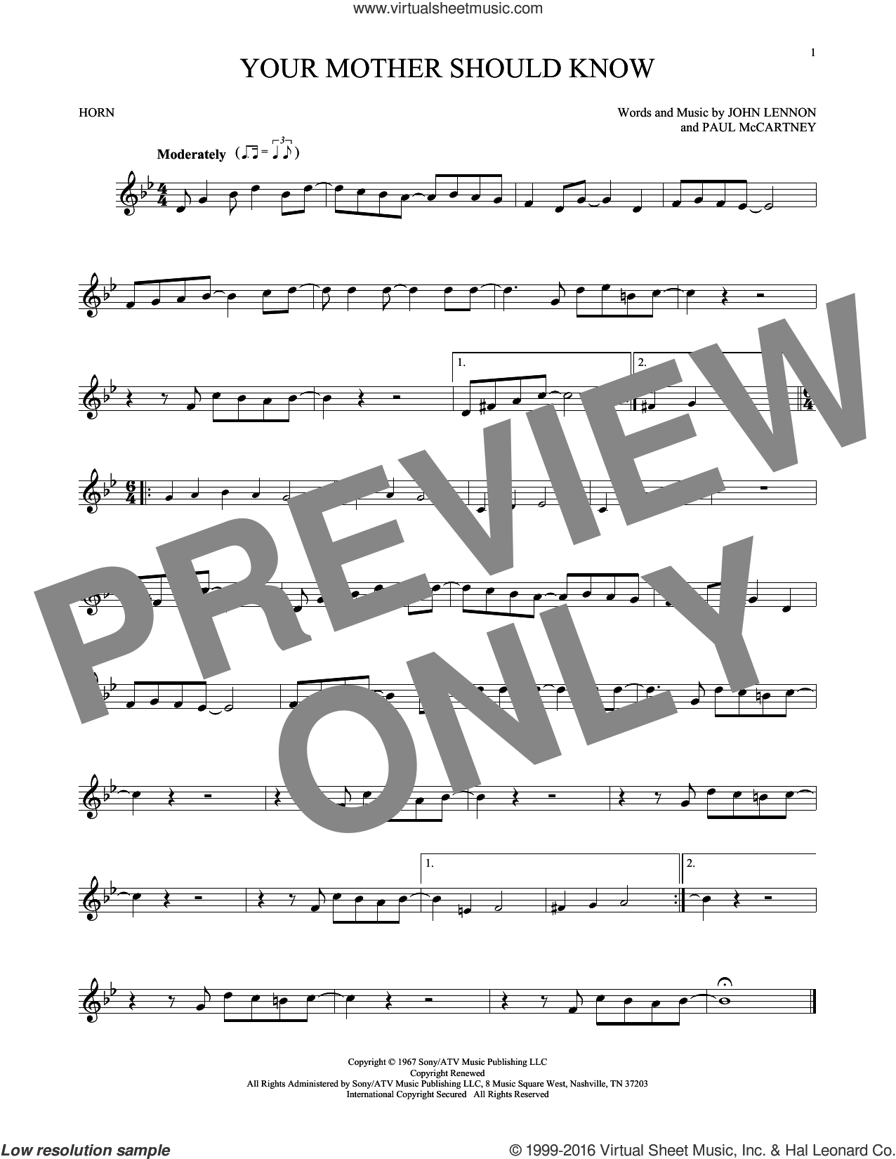 Your Mother Should Know sheet music for horn solo by The Beatles, John Lennon and Paul McCartney, intermediate horn. Score Image Preview.