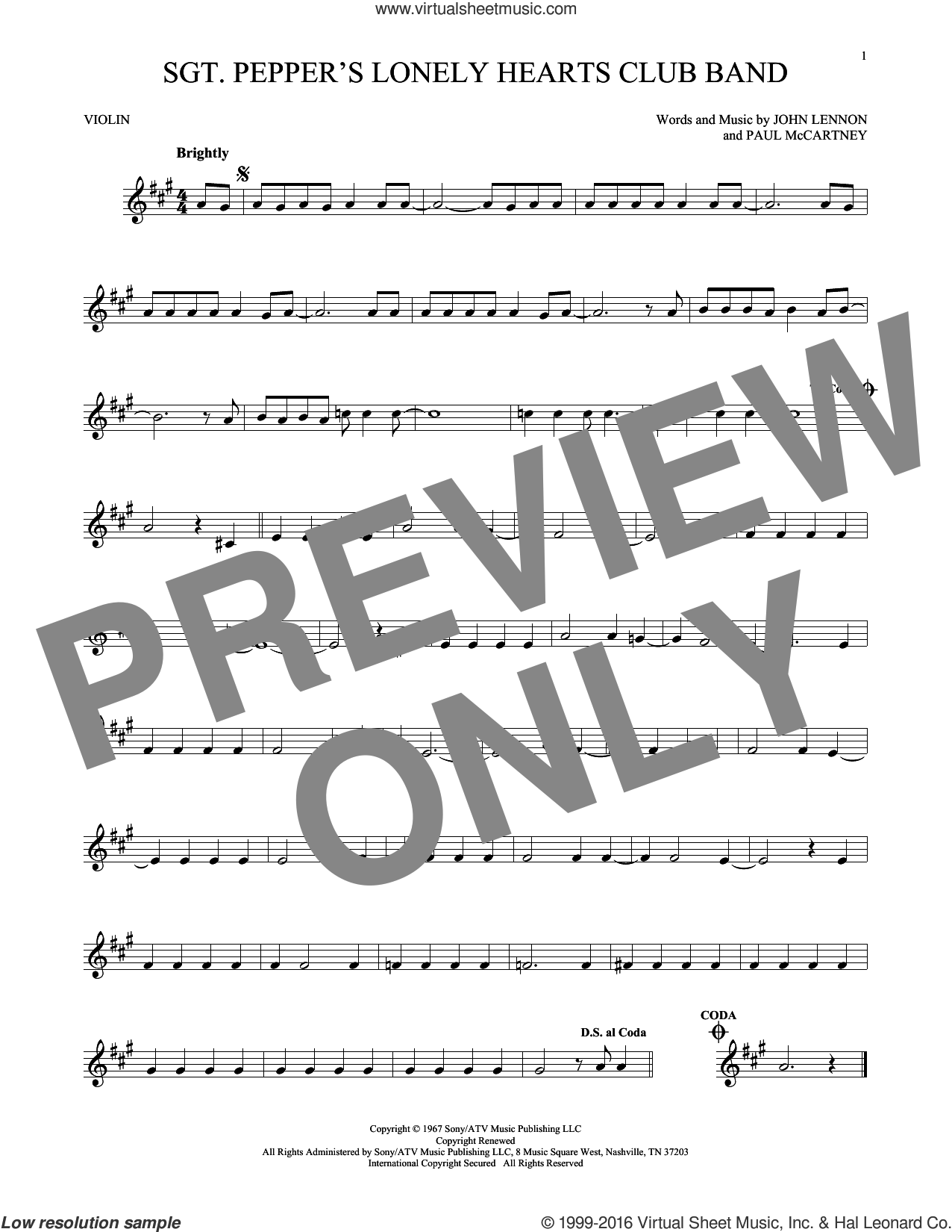 Sgt. Pepper's Lonely Hearts Club Band sheet music for violin solo by The Beatles, John Lennon and Paul McCartney, intermediate skill level