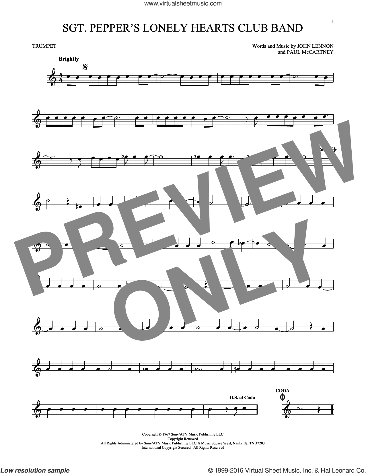 Sgt. Pepper's Lonely Hearts Club Band sheet music for trumpet solo by Paul McCartney, The Beatles and John Lennon. Score Image Preview.