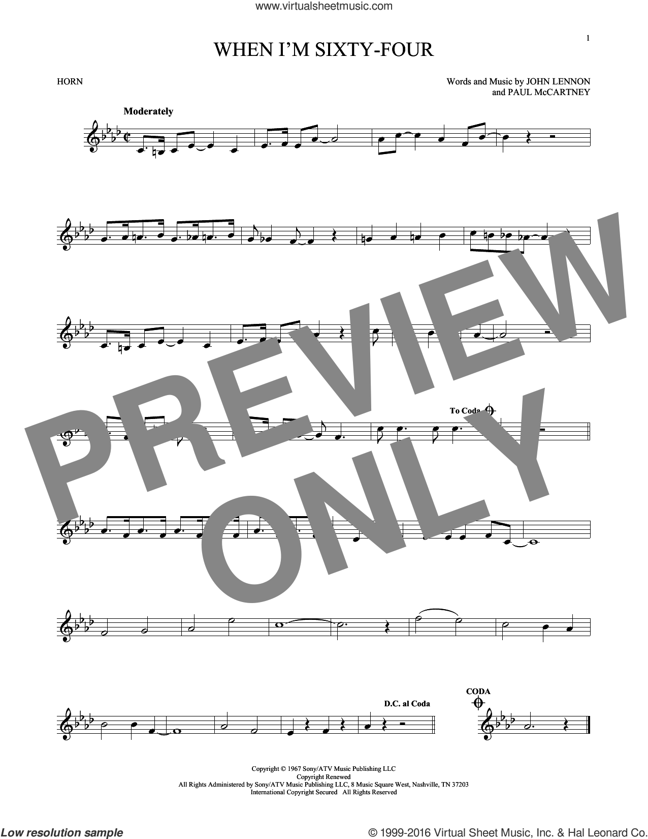 When I'm Sixty-Four sheet music for horn solo by The Beatles, John Lennon and Paul McCartney. Score Image Preview.