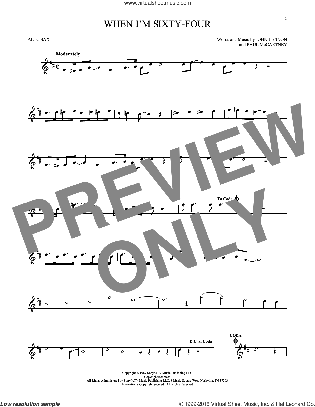 When I'm Sixty-Four sheet music for alto saxophone solo by Paul McCartney, The Beatles and John Lennon. Score Image Preview.