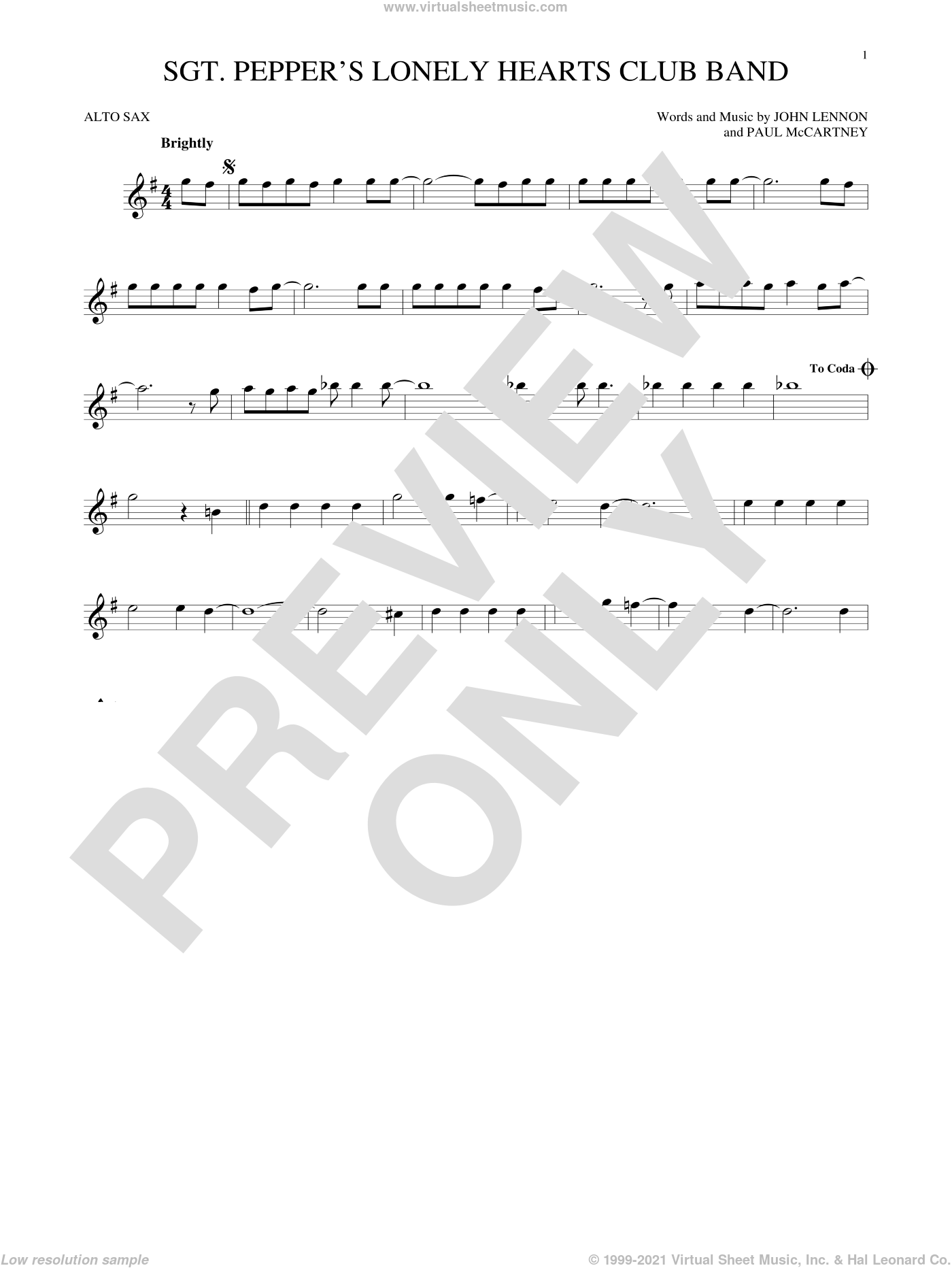 Sgt. Pepper's Lonely Hearts Club Band sheet music for alto saxophone solo by The Beatles, John Lennon and Paul McCartney, intermediate skill level