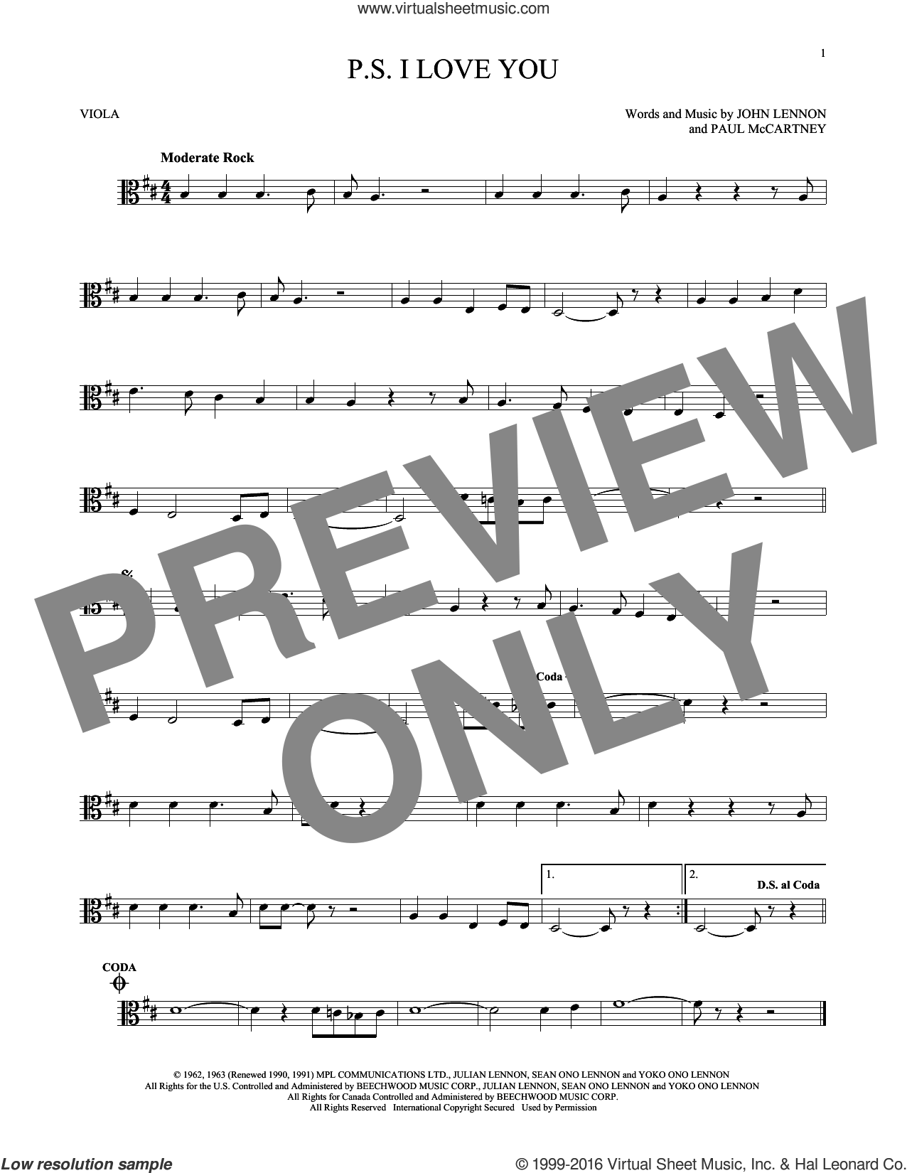P.S. I Love You sheet music for viola solo by The Beatles, John Lennon and Paul McCartney, intermediate skill level