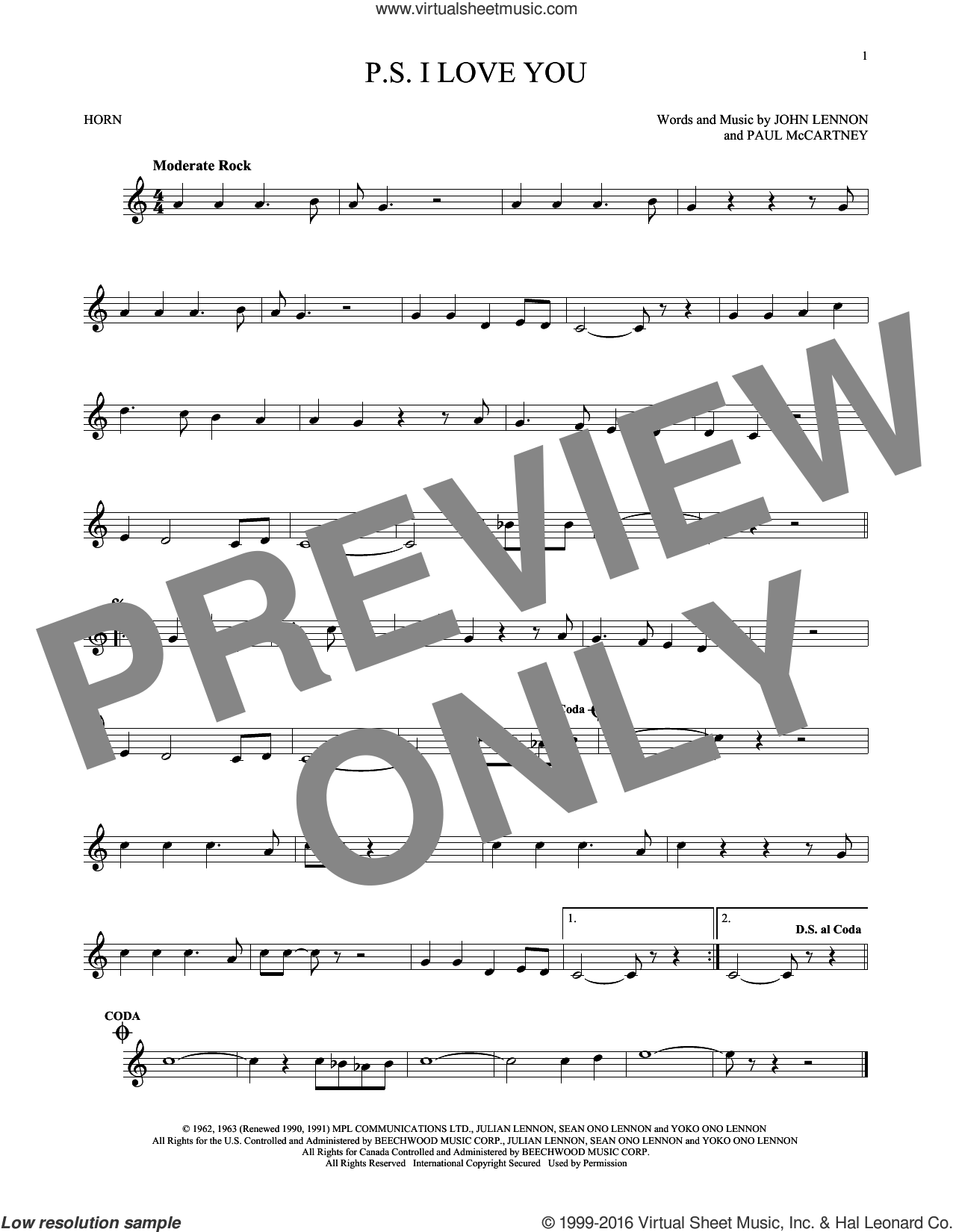 P.S. I Love You sheet music for horn solo by The Beatles, John Lennon and Paul McCartney, intermediate. Score Image Preview.