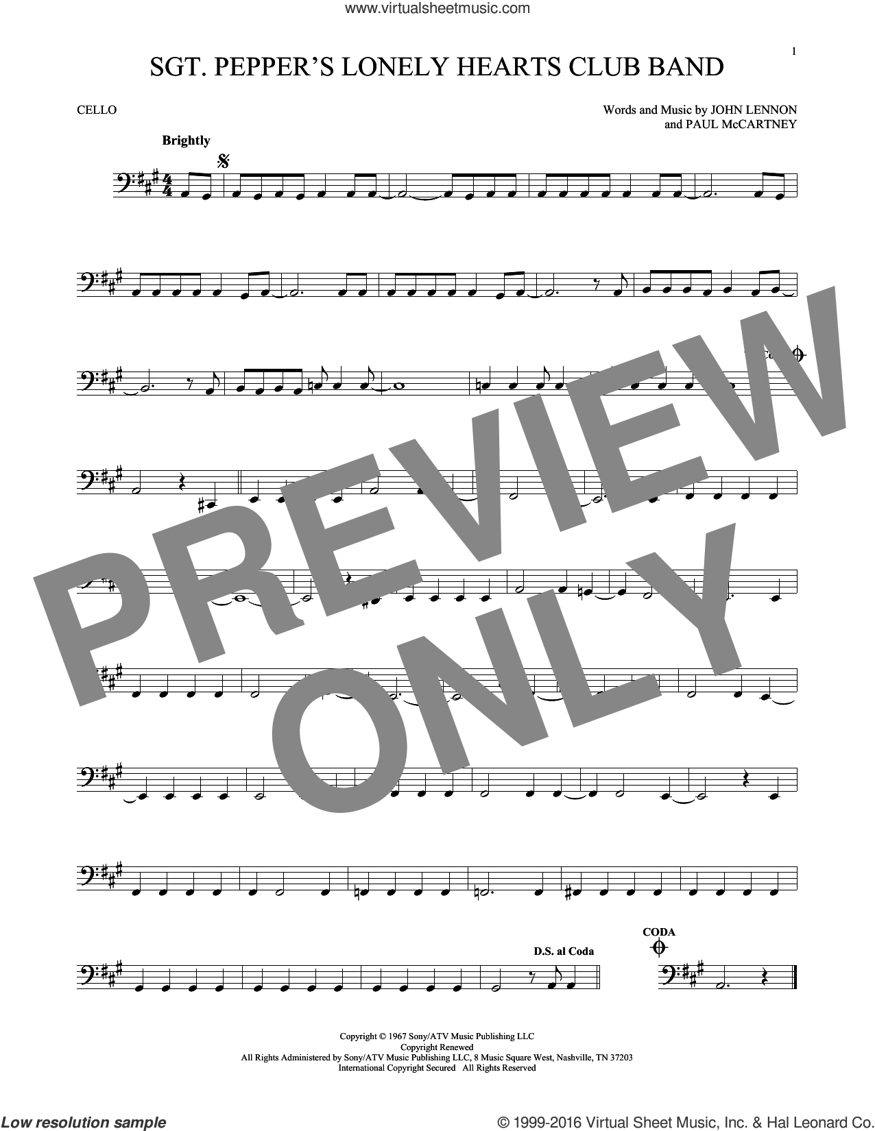Sgt. Pepper's Lonely Hearts Club Band sheet music for cello solo by The Beatles, John Lennon and Paul McCartney, intermediate skill level
