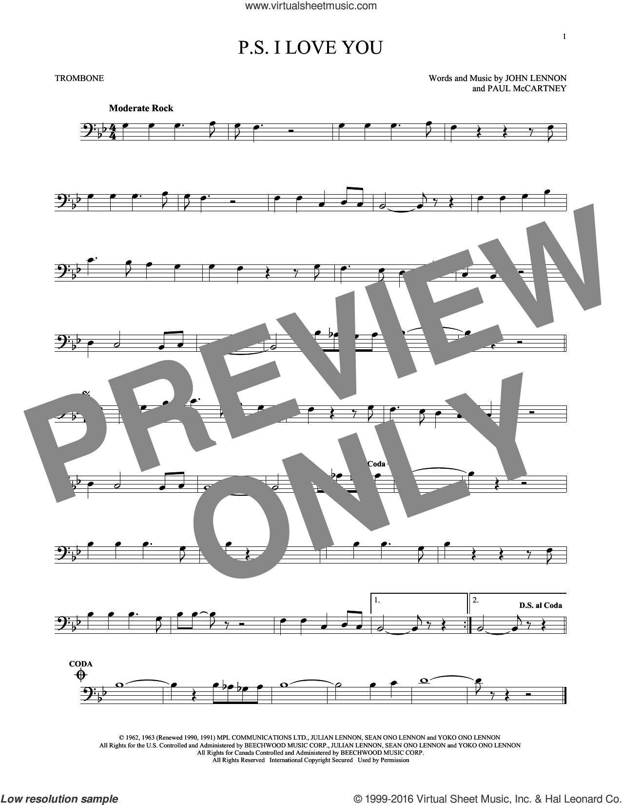 P.S. I Love You sheet music for trombone solo by Paul McCartney, The Beatles and John Lennon. Score Image Preview.