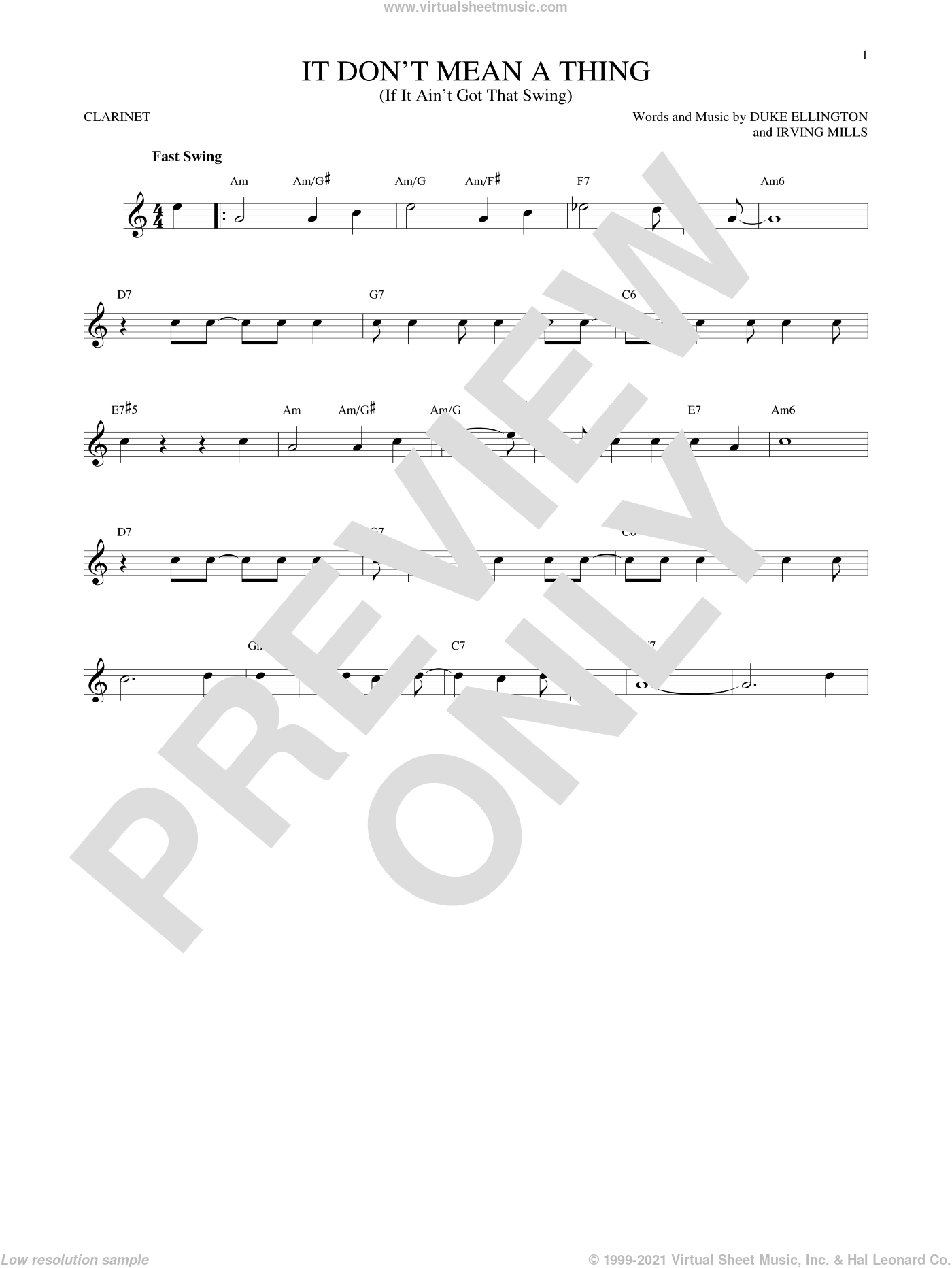 It Don't Mean A Thing (If It Ain't Got That Swing) sheet music for clarinet solo by Duke Ellington and Irving Mills. Score Image Preview.
